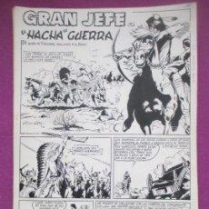 Cómics: DIBUJO ORIGINAL PLUMILLA, GRAN JEFE, EL HACHA DE GUERRA, F. AMOROS, BENET, 4 HOJAS. Lote 147948658