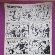 Cómics: DIBUJO ORIGINAL PLUMILLA, ACAMPADA, FUEGO EN EL BOSQUE, 1965, ALCAZAR EXTRA, 4 HOJAS. Lote 147948770
