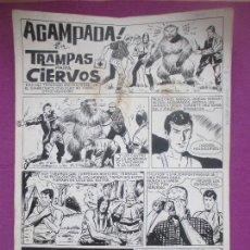 Cómics: DIBUJO ORIGINAL PLUMILLA, ACAMPADA, TRAMPAS PARA CIERVOS, 1965, ALCAZAR EXTRA, 4 HOJAS. Lote 147948834