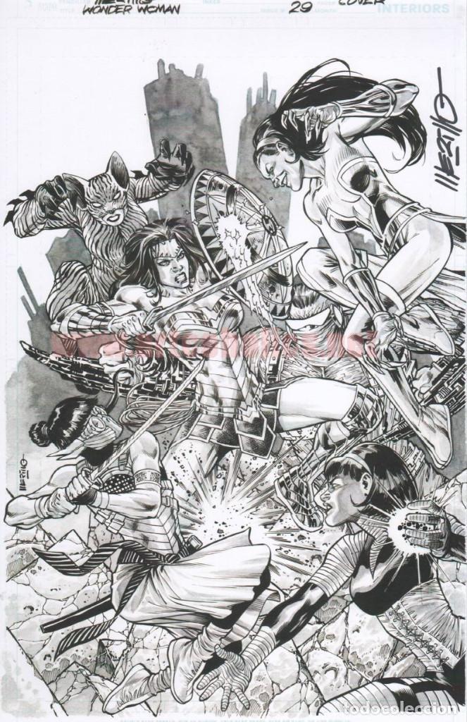 JESÚS MERINO LÁMINA FIRMADA : PORTADA WONDER WOMAN 29 (Tebeos y Comics - Art Comic)