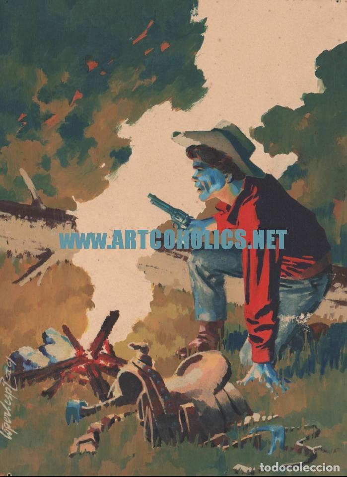 DIBUJO ORIGINAL DE RAFAEL LÓPEZ-ESPÍ FIRMADO : WESTERN PORTADA A COLOR (Tebeos y Comics - Art Comic)