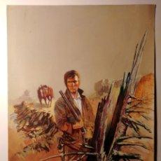 Cómics: PORTADA ORIGINAL WESTERN (INACABADA)+BOCETO A LÁPIZ. AÑOS 70'S. Lote 155303300