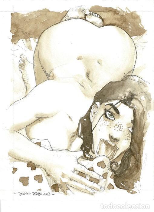 SERGIO BLEDA. ILUSTRACION ORIGINAL SEXY GIRL IN THE MORNING (Tebeos y Comics - Art Comic)