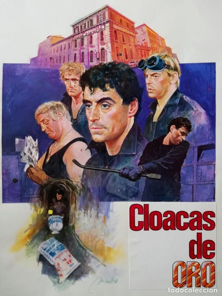 ILUSTRACION ORIGINAL ACRILICO FIRMADO CARATULA CLOACAS DE ORO - JOSEP MARIA MIRALLES - 28X40 CMTS (Tebeos y Comics - Art Comic)