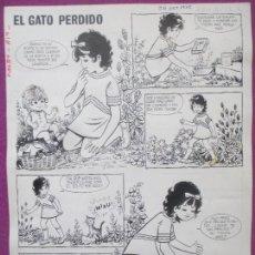 Cómics: DIBUJO ORIGINAL PLUMILLA, EL GATO PERDIDO, PILAR MIR, PUMBY 819, 2 HOJAS, A24. Lote 166141710