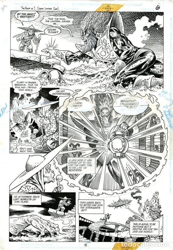 (BD) DIBUJO ORIGINAL DE ENRIQUE ALCATENA - GREEN LANTERN ANNUAL 5 P.6, EDITORIAL DC COMICS 1996 (Tebeos y Comics - Art Comic)