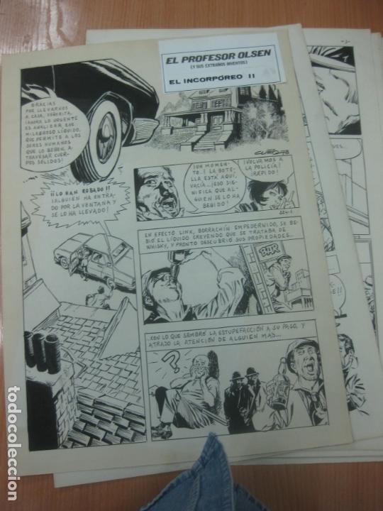 DIBUJOS ORIGINALES DE CUETO. HISTORIA COMPLETA DE 8 PAGINAS GRAN FORMATO. PROFESOR OLSEN. 1973. (Tebeos y Comics - Art Comic)