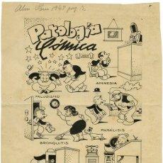 Cómics: (BD) DIBUJO ORIGINAL DE MANUEL URDA - PATOLOGÍA CÓMICA, ALMANAQUE TBO 1947. Lote 168186968