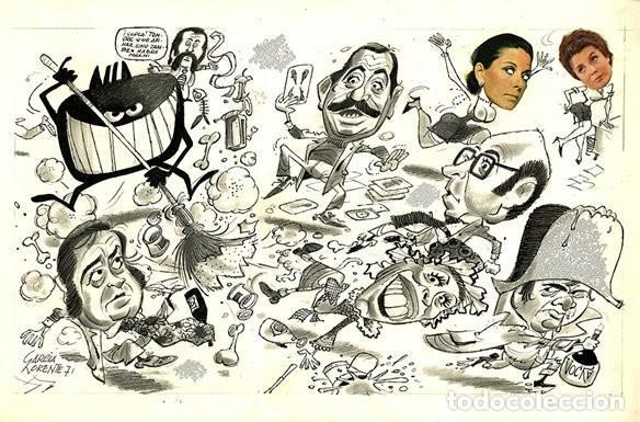 (BD) DIBUJO ORIGINAL DE PEDRO GARCÍA LORENTE - PRESENTADORES DE LA TELEVISIÓN, EL PAPUS 83 P.28 - 29 (Tebeos y Comics - Art Comic)
