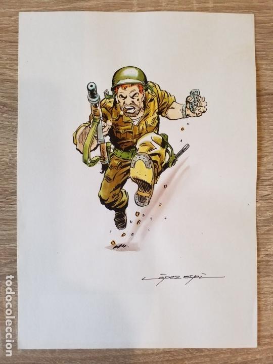PINTURA ACUARELA ORIGINAL DE LOPEZ ESPI SARGENTO FURIA FIRMADO (Tebeos y Comics - Art Comic)