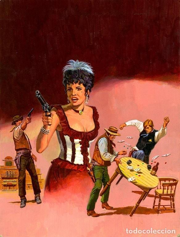 (M) DIBUJO ORIGINAL DE ENRIC MARTÍN - ESCENAS DE WESTERN, PORTADA 37CM X 28,5CM (Tebeos y Comics - Art Comic)