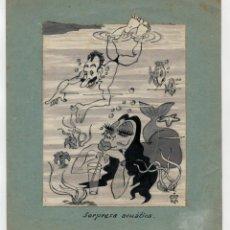Cómics: DIBUJO ORIGINAL FIRMADO DE CISKO - SORPRESA ACUATICA - 1950. Lote 171476814
