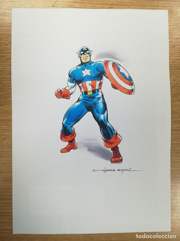 DIBUJO ORIGINAL - CAPITAN AMERICA - LÓPEZ ESPÍ / TINTA - ACUARELA COLOR (Tebeos y Comics - Art Comic)