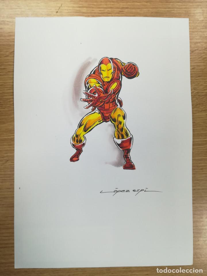DIBUJO ORIGINAL - IRON MAN - LÓPEZ ESPÍ / TINTA - ACUARELA COLOR (Tebeos y Comics - Art Comic)