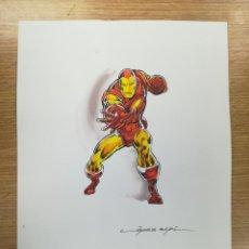 Cómics: DIBUJO ORIGINAL - IRON MAN - LÓPEZ ESPÍ / TINTA - ACUARELA COLOR. Lote 172114025