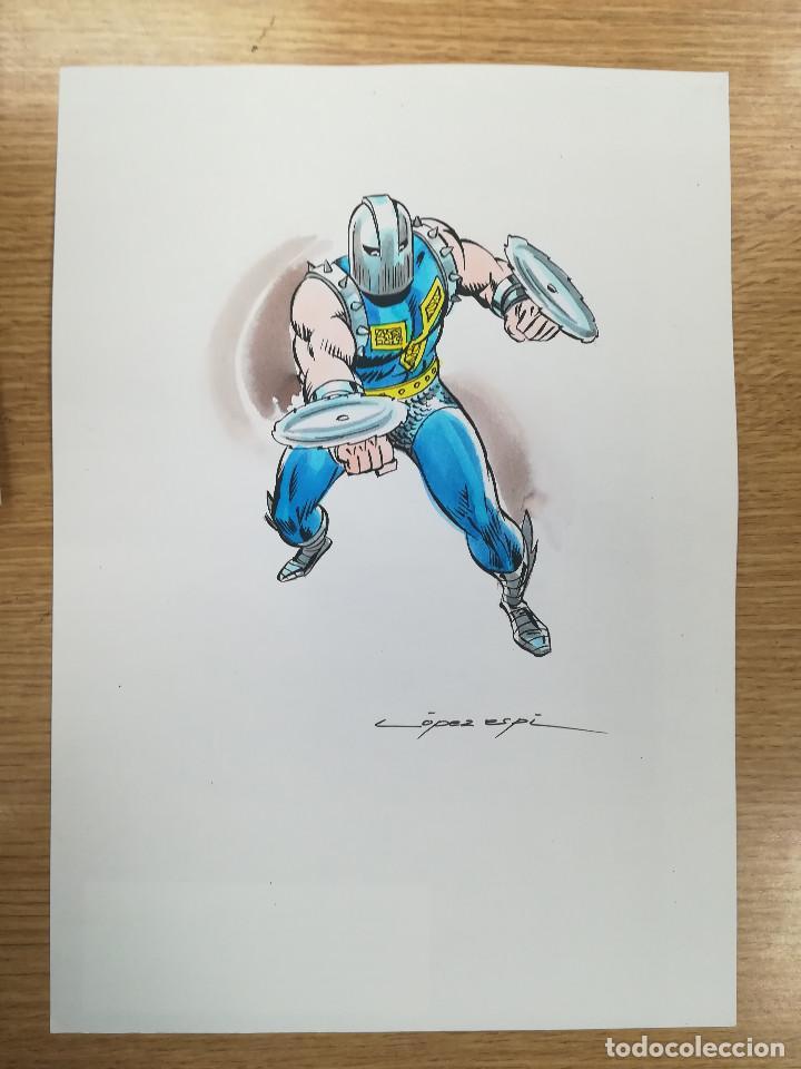 DIBUJO ORIGINAL - GLADIADOR - LÓPEZ ESPÍ / TINTA - ACUARELA COLOR (Tebeos y Comics - Art Comic)