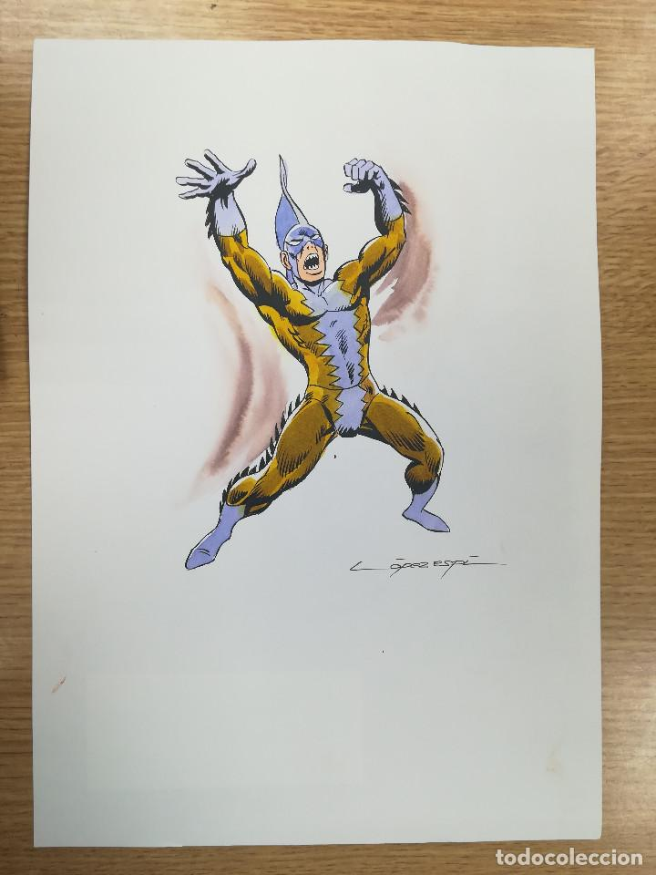 DIBUJO ORIGINAL - TIBURON TIGRE - LÓPEZ ESPÍ / TINTA - ACUARELA COLOR (Tebeos y Comics - Art Comic)