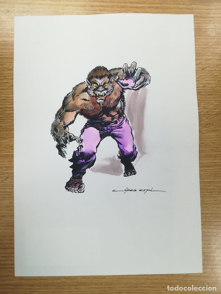 DIBUJO ORIGINAL - HOMBRE LOBO - LÓPEZ ESPÍ / TINTA - ACUARELA COLOR (Tebeos y Comics - Art Comic)