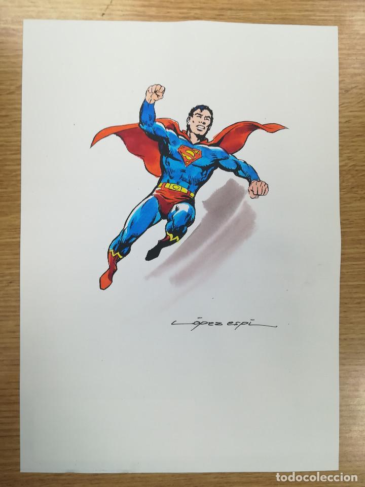 DIBUJO ORIGINAL - SUPERMAN - LÓPEZ ESPÍ / TINTA - ACUARELA COLOR (Tebeos y Comics - Art Comic)