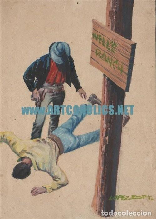 PORTADA ORIGINAL DE RAFAEL LÓPEZ-ESPÍ : WESTERN FIRMADA (Tebeos y Comics - Art Comic)