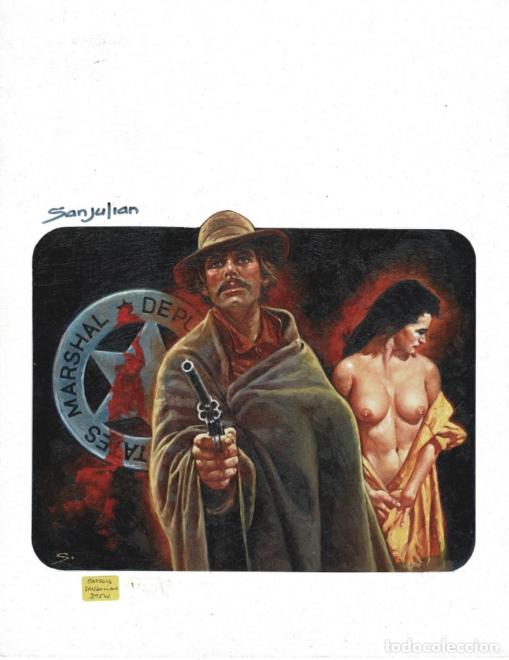 WESTERN COVER #3 - PORTADA ORIGINAL - SANJULIAN (Tebeos y Comics - Art Comic)