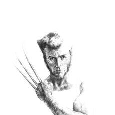 Cómics: CLINT EASTWOOD - WOLVERINE - DIBUJO GRAN FORMATO ORIGINAL - SANJULIAN JR.. Lote 175759359