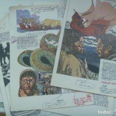 Cómics: LOTE DE 8 LAMINAS DEL COMIC HISTORIA DE ANDALUCIA DE VALCARCEL, PRUEBAS DE IMPRENTA , CON NOTAS, ETC. Lote 177320855