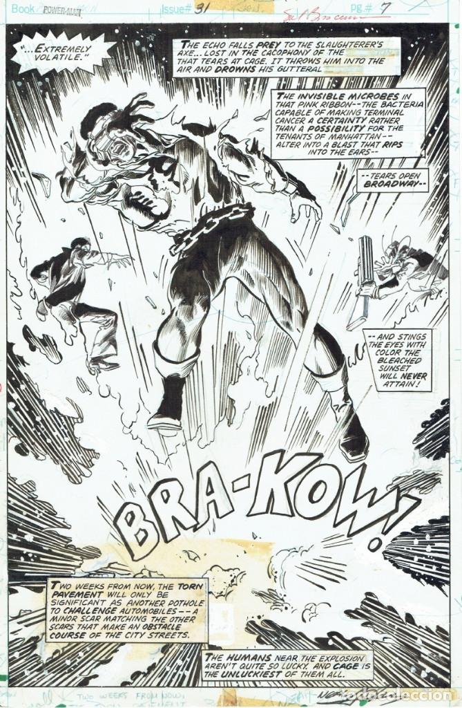 POWER MAN #31 PG. 7 - SAL BUSCEMA Y NEAL ADAMS - FIRMADA POR AMBOS (Tebeos y Comics - Art Comic)