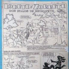 Cómics: DIBUJO ORIGINAL PLUMILLA LOBETE Y ZORRETE POR KARPA 6 HOJAS O PLANCHAS M6. Lote 182288502