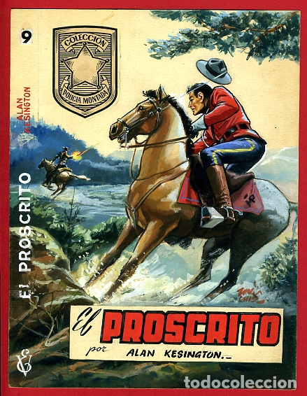 DIBUJO ORIGINAL COLOR, JOSE LUIS , COLECCIÓN POLICÍA MONTADA , PORTADA Nº 9 (Tebeos y Comics - Art Comic)
