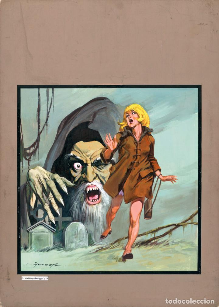 Cómics: LOPEZ ESPI - Original cover painting used in Fantom #11 (Vértice, 1973) and Professor Zamorra #98 - Foto 2 - 183600816