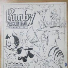 Cómics: DIBUJO ORIGINAL PLUMILLA PORTADA PUMBY 1972 J. SANCHIS Nº 765 D1. Lote 183623738