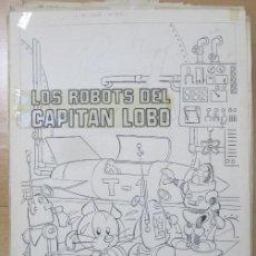 Cómics: DIBUJO ORIGINAL PLUMILLA LIBROS ILUSTRADOS LOS ROBOTS DEL CAPITAN LOBO 23 HOJAS J. SANCHIS D4. Lote 183623937