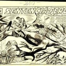 Cómics: ORIGINALES DE PORTADA Y PGS. INTERIORES DE PURK, EL HOMBRE DE PIEDRA-200 (VALENCIANA, 1950) DE GAGO. Lote 184490297