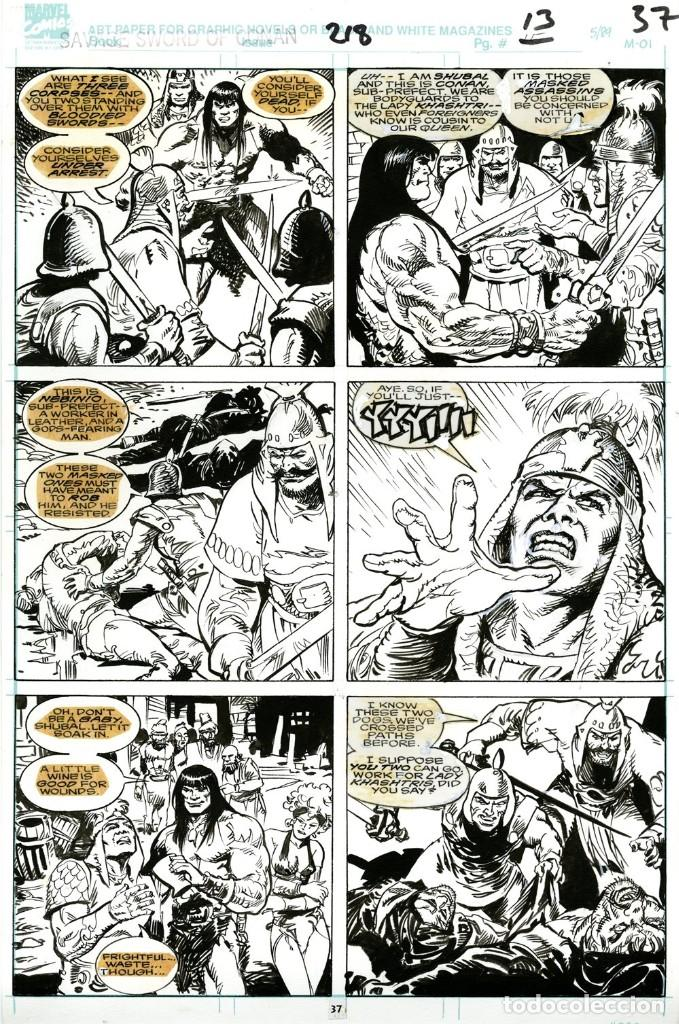 DIBUJO ORIGINAL DE ESTEBAN MAROTO - SAVAGE SWORD OF CONAN N.218 P.13/37, MARVEL COMICS (Tebeos y Comics - Art Comic)
