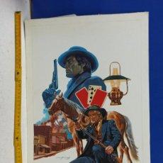Cómics: DIBUJO ORIGINAL PORTADA NOVELA VAQUEROS COMPANY 50 X 35 CM. Lote 190275272