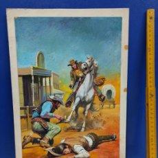 Cómics: DIBUJO ORIGINAL PORTADA NOVELA VAQUEROS CHACOPINO 25 X 35 CM. Lote 190275808