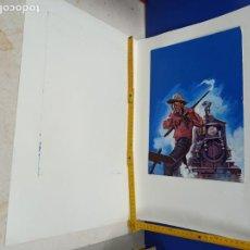 Cómics: DIBUJO ORIGINAL PORTADA NOVELA VAQUEROS PUJOLAR 25 X 35 CM. Lote 190276191