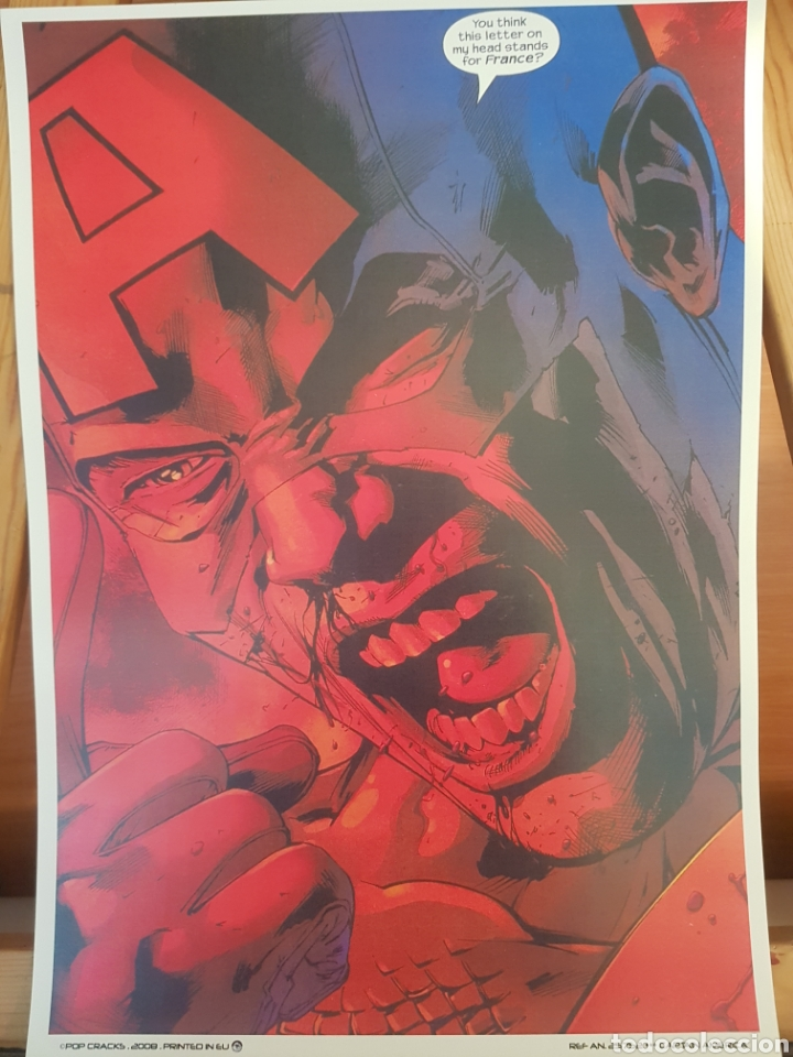 CAPITAN AMERICA MARVEL : VIÑETA DECOMIC . LAMINA CARTEL LITOGRAFICO. REPROGRAFIA (Tebeos y Comics - Art Comic)