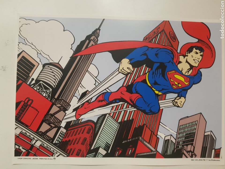 SUPERMAN SOBRE MANHATTAN: CLASICO COMIC. CARTEL LITOGRAFICO .REPROGRAFIA (Tebeos y Comics - Art Comic)