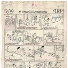 Cómics: DIBUJO ORIGINAL DE VALENTÍ CASTANYS: EL DEPORTISTA DESCONOCIDO PUBLICADO EN EL TBO NÚMERO 368 D 1964. Lote 194276271