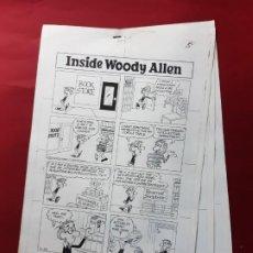 Cómics: LAMINAS DIBUJO ORIGINAL INSIDE WOODY ALLEN POR STUART HAMPLE.VER FOTOS. Lote 195370370
