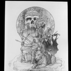 Cómics: MASTERS OF THE UNIVERSE -ENTHRONED SKELETOR- ART PRINT SANJULIAN- HAND SIGNED. Lote 196252921