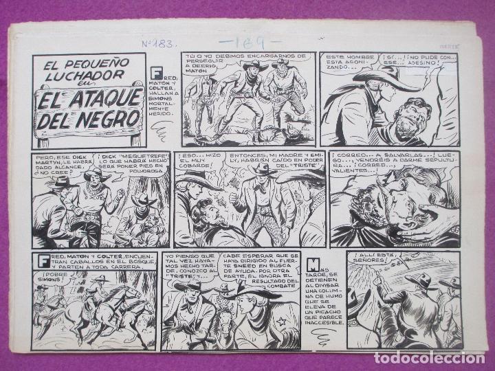 Cómics: DIBUJO ORIGINAL PLUMILLA, EL PEQUEÑO LUCHADOR, EL ATAQUE DEL NEGRO, Nº183, PORTADA + 10 HOJAS - Foto 2 - 196918497