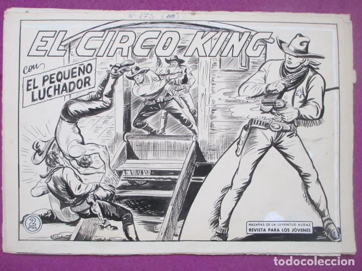 DIBUJO ORIGINAL PLUMILLA, EL PEQUEÑO LUCHADOR, EL CIRCO KING, Nº173, PORTADA + 10 HOJAS (Tebeos y Comics - Art Comic)