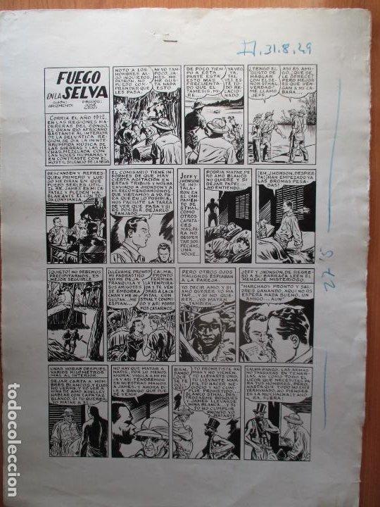 FUEGO EN LA SELVA, DOS PÁGINAS DE JOSÉ GRAU CON AVENTURA AUTOCONCLUSIVA. PLANCHAS ORIGINALES. (Tebeos y Comics - Art Comic)