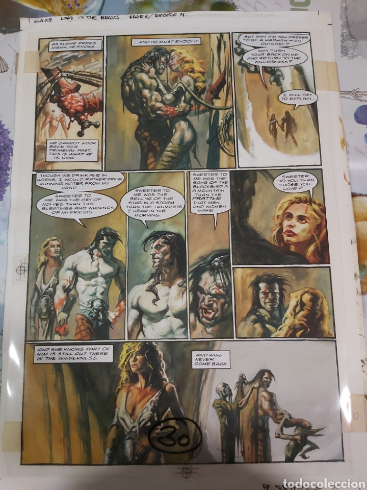 PÁGINA ORIGINAL DE SLAINE DIBUJADA POR RAFA GARRÉS (Tebeos y Comics - Art Comic)