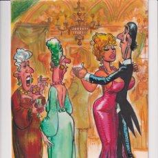 Cómics: DIBUJO ORIGINAL DE MANEL FERRER DEL 75,A COLOR.19 X 32 CM..PUBLICADO EN PAPILLON Nº 1 EN PAG. 18. Lote 199661050