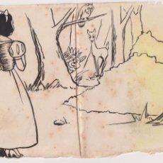 Cómics: DIBUJO ORIGINAL WALT DISNEY BLANCANIEVES ED. ROMA .. Lote 199851596