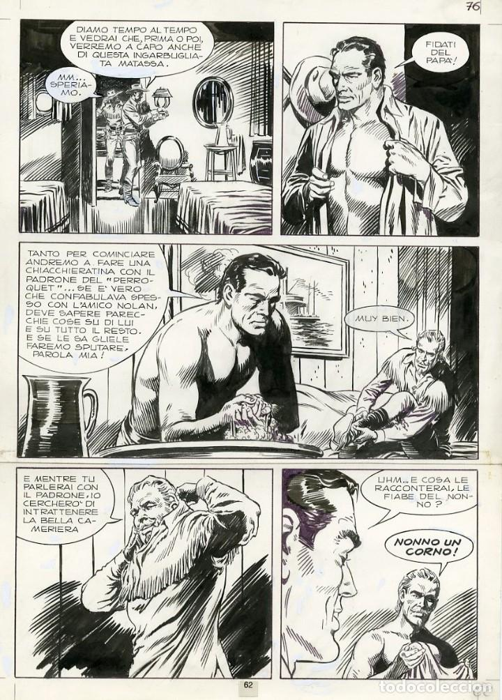 DIBUJO ORIGINAL DE JESÚS BLASCO - TEX - LA BANDA DEL TESCHIO P.62, BONELLI EDITORE 1973 (Tebeos y Comics - Art Comic)